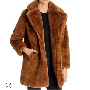 NEW Apparis Camel Sasha Faux Fur Coat
